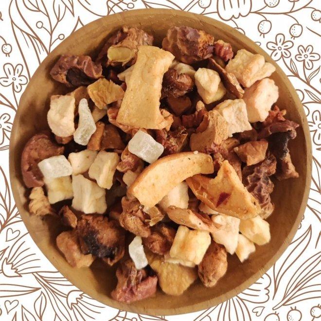 Apfelpudding an Karamellsauce (Früchtetee)